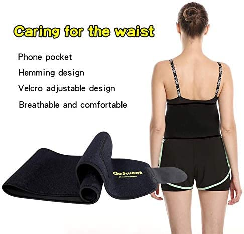 GoSweat Waist Sweat Trainer with Pocket, Plus Size Trimmer Belt for Women & Men, Slimming Band, Belly Wrap for Weight Loss, Stomach Fat Burner, Workout 6