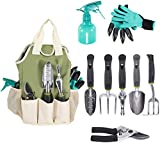 Garden Tool Set | Garden Tools Organizer Tote | Gardening Gloves Included Great Garden Tools for Woman and Men | 9 Piece Garden Accessories Tool Organizer Kit | Gardening Gifts | Gardeners Supply