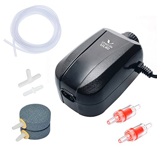 Uniclife Aquarium Air Pump 4 Watt 4-LPM 2 Outlets with Accessories, Adjustable Oxygen Pump for 20-100 Gallon Fish Tank