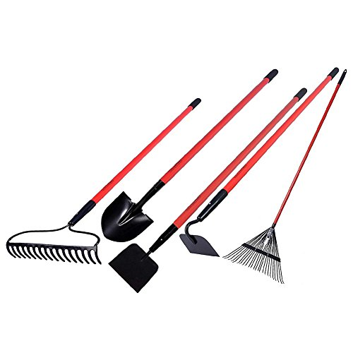 GardenAll Garden Tools Set - Include Round Point Garden Shovel/12 Guage Garden Hoe/Steel Rake/Bow Rake/Garden Scraper with Fiberglass Handle-5 Pieces
