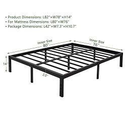 45MinST 14 Inch Platform Bed Frame/Easy Assembly Mattress Foundation / 3000lbs Heavy Duty Steel Slat/Noise Free/No Box Spring Needed, Twin/Full/Queen/King/Cal King (King)