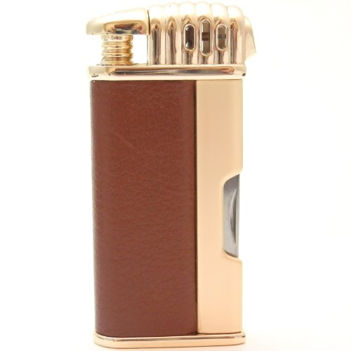 Mr. Brog Leather Tobacco Pipe Lighter and Czech Tool - All in One - Model LGHT08 Gold Brown