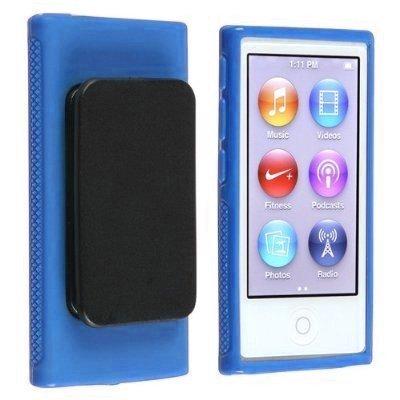 Importer520 Belt Clip TPU Rubber Skin Case Cover for Apple iPod Nano 7th Generation 7G 7 (Blue)