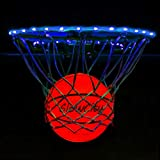 GlowCity Light Up LED Rim Kit with LED Basketball Included - Blue, Size 7 Basketball (Official Size)
