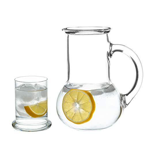 Bedside Night Carafe with Tumbler Drinking Glass, 2 Piece Set for Water, Beverage, Ice Tea