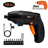 【TACKLIFE Selection】Electric Screwdriver, 4V Max Cordless Screwdriver Rechargeable with Micro USB, Front LED Light, 10 pcs Screwdriver Bits, 3 Battery Indicator, Compact and Lightweight Design-SDP60DC