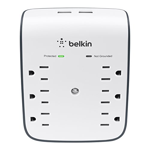 Belkin SurgePlus 6-Outlet Wall Mount Surge Protector with Dual USB Charging Ports (2.1 AMP/10 Watt), BSV602tt