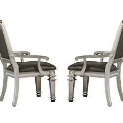 Homelegance Bevelle 2 Piece Pack Modern Dining Chairs with Arm, Silver