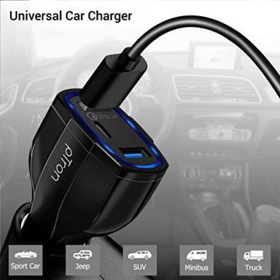 pTron-Bullet-Pro-36W-PD-Quick-Charger-3-Port-Fast-Car-Charger-Adapter-Compatible-with-All-Smartphones-Tablets-Black