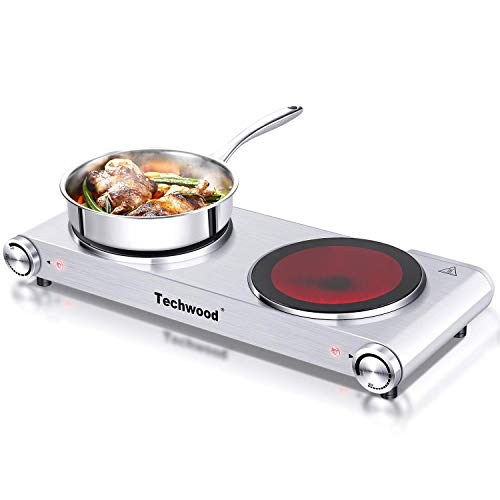 Techwood Hot Plate Electric Burner Countertop Burner Double Burner Infrared Ceramic Double Cooktop Cast Iron Outdoor Electric Stove 1800W (900W & 900W) with Adjustable Temperature Control Brushed Stainless Steel Easy To Clean Upgraded Version (Double Hot Palte)
