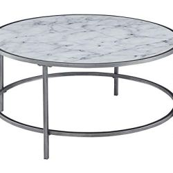 Convenience Concepts Gold Coast Faux Marble Round Coffee Table, White Faux Marble / Silver Frame
