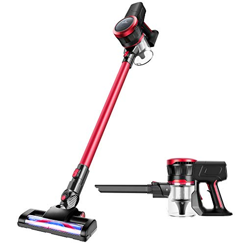 MOOSOO Cordless Vacuum Cleaner 17Kpa Strong Suction 2 in 1 Stick Vacuum Ultra-Quiet with Handheld Vacuum Cleaner Multiple Brush K17