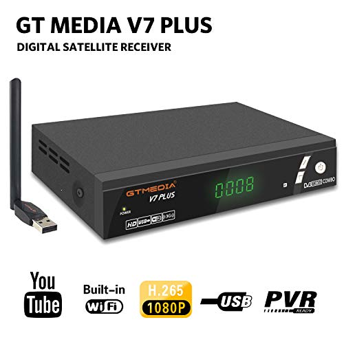 GTMEDIA V7 Plus DVB-S2/T2 FTA Satellite TV Receiver Digital Sat Decoder 1080P Full HD with USB WiFi Antenna H.265 AVS+ Support YouTube, PVR Ready, Cccam, Newcam, Powervu, DRE & Biss Key by Aoxun