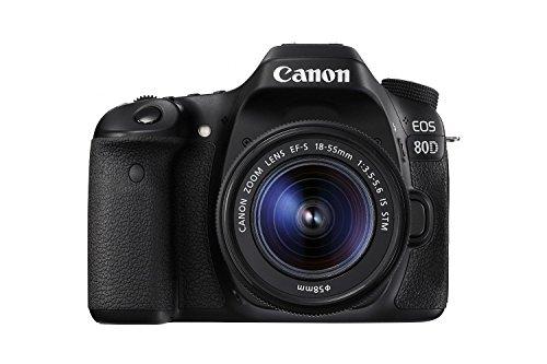 Canon 1263C005-IV EOS 80D Digital SLR Kit with EF-S 18-55mm f/3.5-5.6 Image Stabilization STM Lens (Black) (International Model) No Warranty
