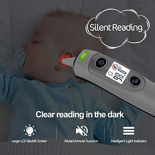 [ New Generation]Forehead and Ear Thermometer, 5-in-1 Digital Medical Thermometer, Infrared Fever Thermometer with New Algorithm for Best Accuracy, for Infant Baby Children and Adults deal 50% off 41sX6rNuZFL