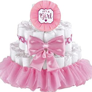 amscan Pink It's A Girl Baby Shower Diaper Cake Decorating Kit, Multi Color 41sYP1Zv5zL