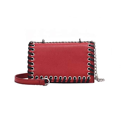 2019 Chain Women Shoulder Bags Shoelace Girls Summer Bag Female 2019 Fashion Small Women Messenger Bags for Ladies,Red, W20H13D8CM
