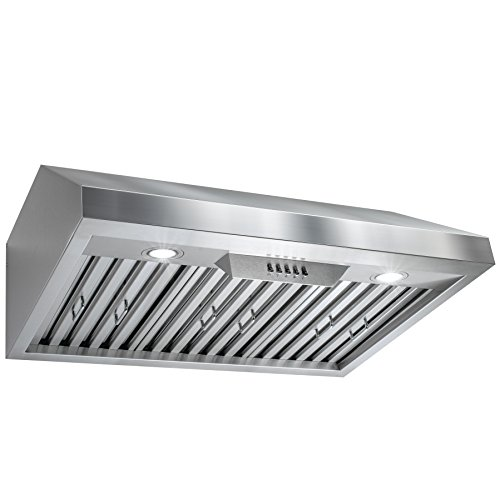 Perfetto Kitchen and Bath 30' Under Cabinet Stainless Steel Push Button Control Kitchen Cooking Fan Range Hood
