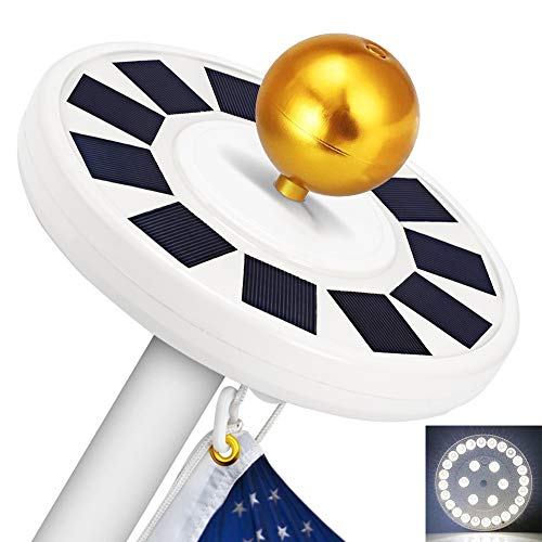 Solar Flag Pole Light, GRDE 30 LED Flag Pole Lights Solar Powered Night Light Flagpole Downlight Lighting Night Light for 15 to 25 Ft Top, Energy Saving LEDs