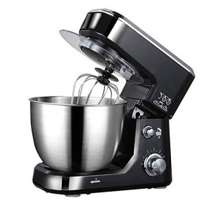 WJSW Food Mixer, 800w Stand Mixer 5 Speed Electric Cake Mixer with 4l Stainless Steel Bowl Multi-Function Chef Machine Kitchen Robot with Hook Splash Guard,Black 41selbIQlsL