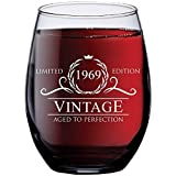 1969 50th Birthday Gifts for Women and Men Wine Glass | Funny Vintage 50 Year Old Presents | Best Anniversary Gift Ideas Him Her Husband Wife Mom Dad | 15 oz Stemless Glasses | Party Decorations Wines