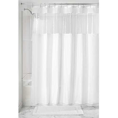 InterDesign Fabric Shower Curtain, Water-Repellent and Mold- and Mildew-Resistant Liner for Master, Guest, Kid's, College Dorm Bathroom, 72' x 72', White and Clear