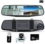 """Mirror Dash Cam  4.3""""LCD Screen FHD 1080P 140° Wide Angle Dual Lens Car Camera Front And Rear Dashboard Camera DVR With 8GB SD Card"""