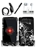 Shoparound168 Motorola Droid Mini (Verizon) Case, Black White Flowers Design Protective Snap-On Hard Cover for Motorola XT1030