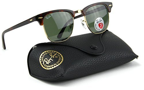 Model: RB3016 Clubmaster Classic Polarized. Color: 990/58 Red Havana Frame / Crystal Green Classic Polarized Lens. Original Ray-Ban Packaging, Case and Cleaning Cloth included.