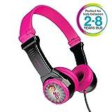 JLAB JBuddies Folding Kids Wired Headphones   Toddler Headphones   Noise Isolation   Kids Safe  Volume Limiting Headphones   Headphones for Children   Black/Pink
