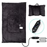Travel Heated Blanket Throw USB Heat Lap Cape, Zip into a 9.8' x 11.8' Pillow with Carrying Strap for Airplane/ Car/ Camping, 3 Heating Levels and 15/ 30/ 60 Minutes Auto Shut-off Settings, 47' x 30'