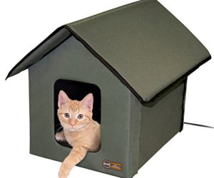 K&H Pet Products Outdoor Heated Kitty House Olive 18' x 22' x 17' 20W