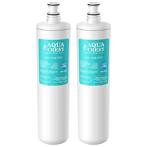 AQUA CREST 3US-PF01 Under Sink Water Filter, Compatible with Filtrete Advanced 3US-PF01, 3US-MAX-F01H, 3US-PF01H, Delta RP78702, Manitowoc K-00337, K-00338 Water Filter (Pack of 2)