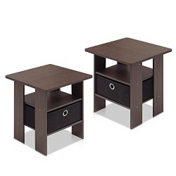 Furinno End Table Bedroom Night Stand, Petite, Dark Brown, Set of 2