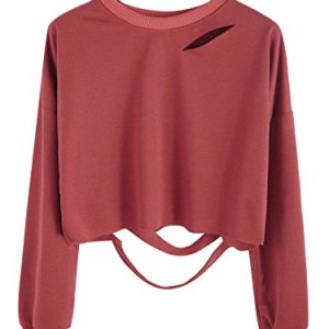 SweatyRocks Women's Long Sleeve Crop T-Shirt Distressed Ripped Cut Out Tee Tops