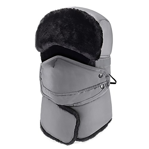 Mysuntown Winter Windproof Hat & Trapper Hat, Warm Hats for Men Outdoor Skiing Sport (Gray)