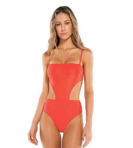 51RP78zGq5L A strapless one piece swimsuit Removable shoulder straps Laser cutout sides