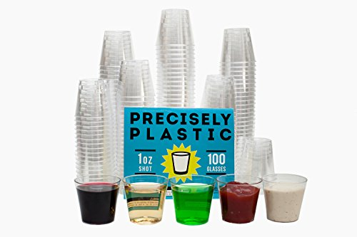 100 Shot Glasses Premium 1oz Clear Plastic Disposable Cups, Perfect Container for Jello Shots, Condiments, Tasting, Sauce, Dipping, Samples