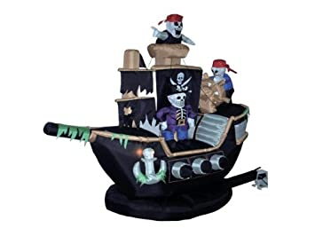 7 Foot Inflatable Pirate Ship with Skeleton Crew