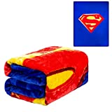 """JPI Plush Throw Blanket - Superman Shield - Queen Bed 79""""x 95"""" - Faux Fur Blanket for Home Decor, Bedding Sets, Sofa Bed, Couch, Picnic Blanket, Camping Blanket"""