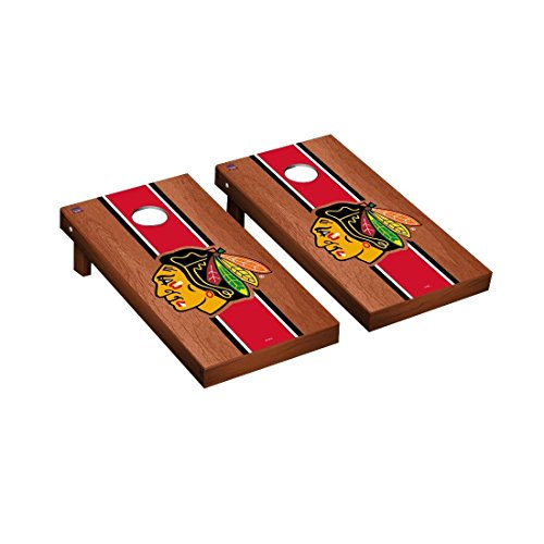 Victory Tailgate NHL Regulation Cornhole Game Set - Rosewood Stained Stripe Version - Chicago Blackhawks