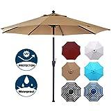 Blissun 9' Outdoor Market Patio Umbrella with Push Button Tilt and Crank, 8 Ribs (Tan)