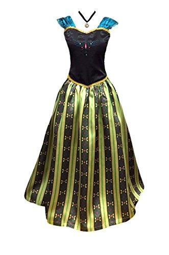 Adult Women Frozen Anna Elsa Coronation Dress Costume + Princess Anna Choker Necklace (Women Size Medium, Olive)