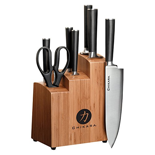 Ginsu Gourmet Chikara Series Forged 8-Piece Japanese Steel Knife Set - Cutlery Set with 420J Stainless Steel Kitchen Knives - Bamboo Finish Block, 07108DS