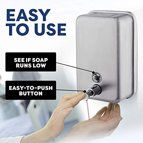 Scuddles-Soap-Dispenser-Bathroom-Kitchen-Commercial-Soap-Dispenser-Wall-Mounted-Stainless-Steel-Manual-Dispenser-with-Corrosion-Proof-Inner-Container-for-Liquid-Gel-40-Ounces-1200-ml