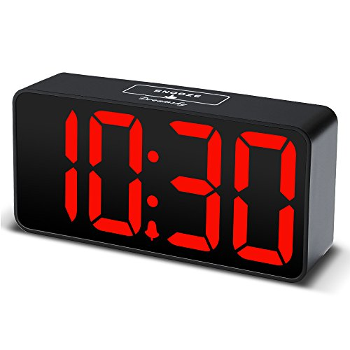 DreamSky Compact Digital Alarm Clock with USB Port for Charging, Adjustable Brightness Dimmer, Bold Digit Display, 12/24Hr, Snooze, Adjustable Alarm Volume, Small Desk Bedroom Bedside Clocks.