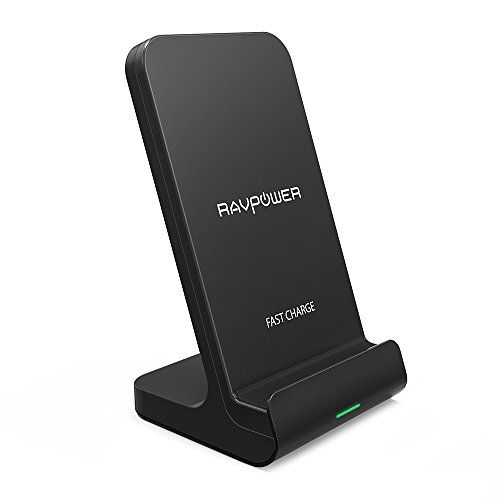 Wireless Charging Stand RAVPower 2 Coils Qi Certified Fast Wireless Charger 10W Qi for Galaxy S9, S9+, S8, S7 & Note 8, 5W Compatible iPhone XS MAX XR X 8 Plus and All Qi-Enabled Devices (Black)