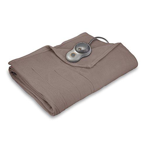 Sunbeam Heated Blanket | 10 Heat Settings, Quilted Fleece, Mushroom, Full