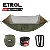 ETROL Upgraded 2 in 1 Large Camping Hammock with Mosquito Net, Pop-Up Lightweight Portable Hanging Hammocks with Tree Straps, Swing Sleeping Hammock with Net for Outdoor, Hiking, Travel (Blue)