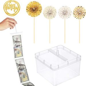 Cake Topper Money Box Set, Pulling Money Box, Transparent Bag and 2 Styles Birthday Cake Topper (Style Set 2) 41tTQWvWxvL